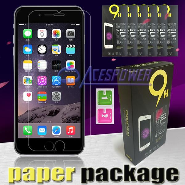 Für Iphone SE 6s und 6s Samsung Galaxy S7 S6 Ausgeglichenes Glas-Schirm-Schutz Anti-Fingerprint-0.26mm Für G5 Groß Prime Papierpaket
