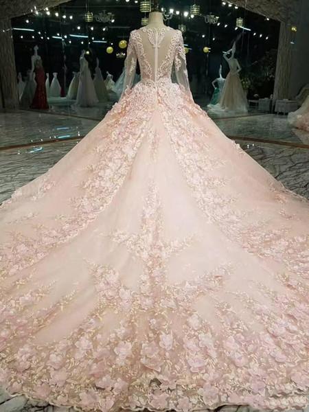 2018 зима осень снег сад V шеи бальное платье с длинными рукавами свадебные платья з