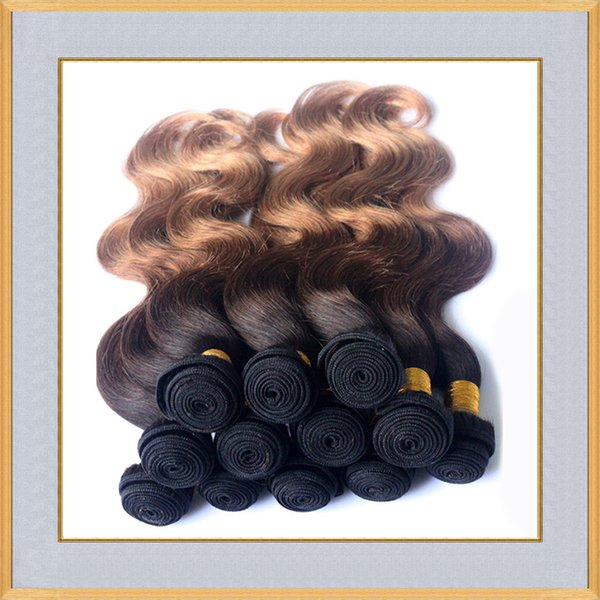 Virgin brésilienne Ombre Bundles cheveux pas cher 3 Tone vague de corps Cheveux tisse # 1B / 33/27 péruviens malaisiens 4pcs Remy cheveux de trame indiennes