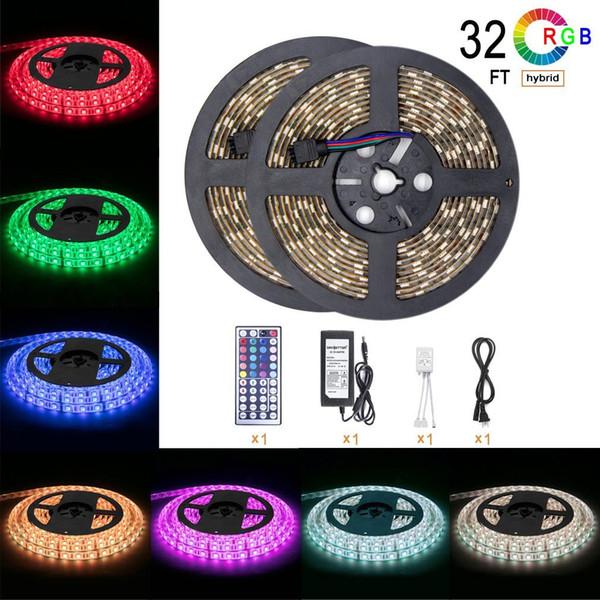 10m waterproof flexible color changing rgb  md 5050 600led  led  trip light kit with 44 key  ir remote controller and 12v 5a power  upply