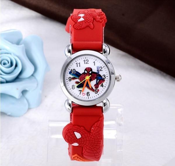 Мода 3D Мультфильм дети Студенты Часы Силиконовые Паук Принцесса Кварцевые часы М