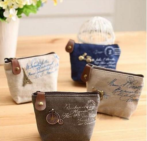 wholesale- unisex ladies retro paris cheapest canvas small zip change coin purse key car pouch little money bag girl's mini coin wallet (402394244) photo
