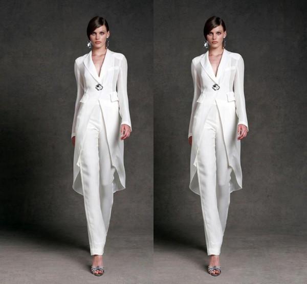 Скромный шифон мать невесты платья брюки костюмы V-образным вырезом с длинными ру