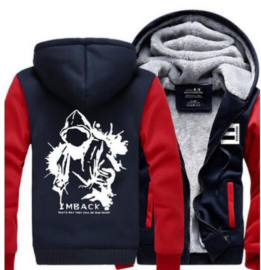 Wholesale-New Winter Warm Cotton Fleece Eminem Hoodie Fashion Thick Zipper Men's cardigan Jackets and Coats 16 Styles Hot Sale
