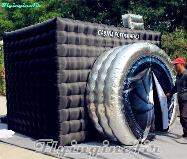 3 5m inflatable cube tent white photobooth black inflated photo booth with circle entrance