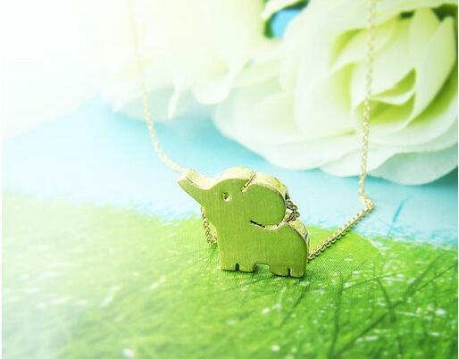 Мода новый стиль 18K позолоченный кулон ожерелье короткий нос слоны ожерелья Для ж фото