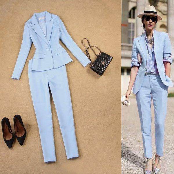 На заказ светло-голубой женщины 2 шт. Наборы женские деловые костюмы брюки костюм