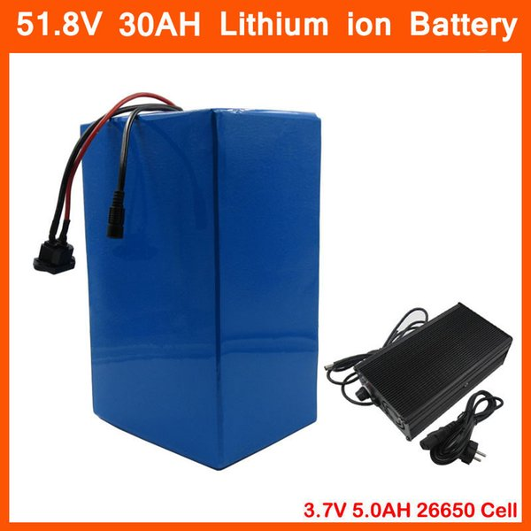 2500w 52v 30ah lithium battery 52v 14  electric bicycle battery u e 3 7v 5000mah 26650 cell with 50a bm  58 8v charger
