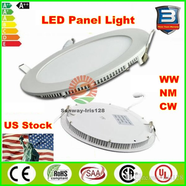 LED panel lights 3w 6w 9w 12w 15w 18w Ultra thin downlight dimmable led panels round square indoor lighting recessed Led ceiling downlights