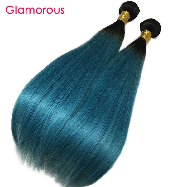 Brazilian human hair weave traight body wave 3 bundle with 13x4 lace frontal dark root turquoi e ombre hair bundle with frontal