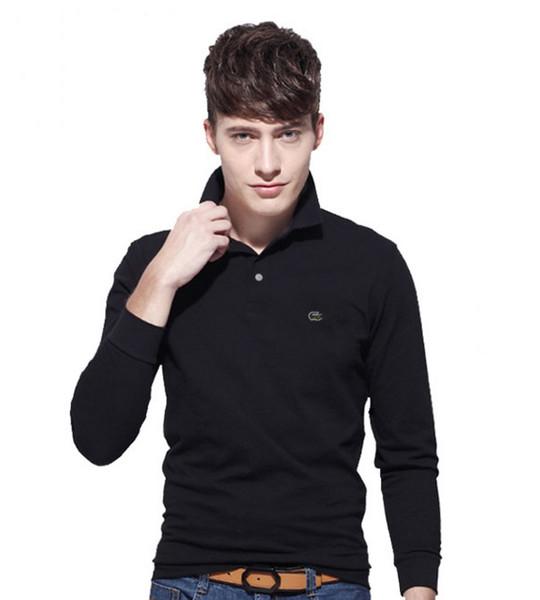 2017 Новый Мужской Рубашка Поло мужская рубашка поло с длинным рукавом Повседневна фото