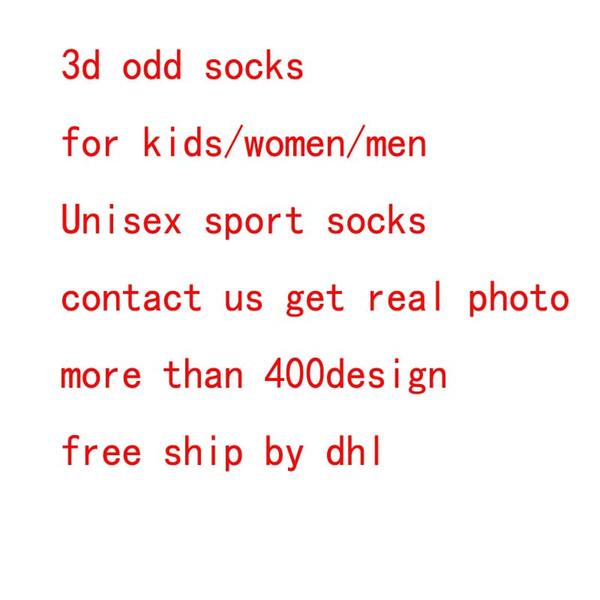 DHL 3d socks kids women men hip hop sock 3d odd cotton skateboard socks printed Unisex socks