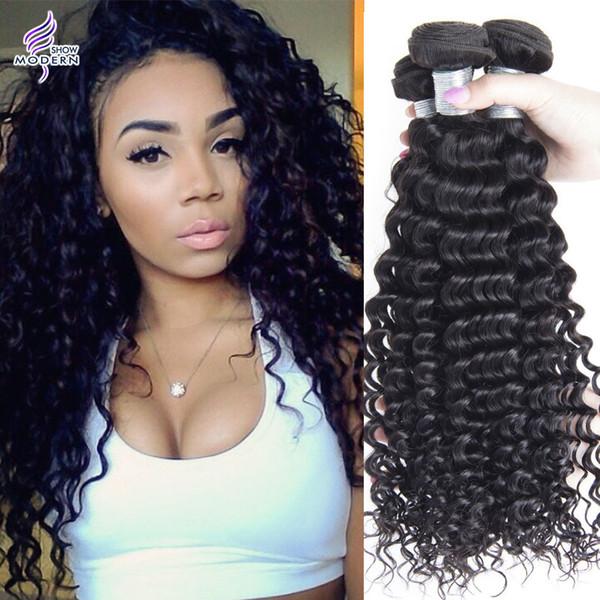 Remy brasiliano Lordo capelli tesse onda profonda dei capelli ricci di trama 3pcs misto Lunghezze 100% del Virgin estensioni dei capelli umani 10