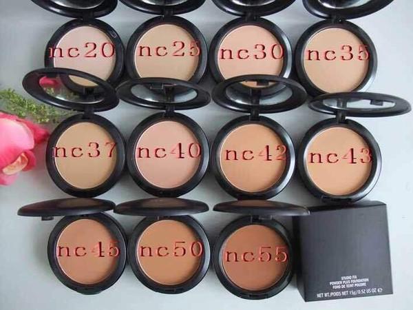 Makeup tudio fix powder cake plu foundation compact foundat face powder puff 15g hipping