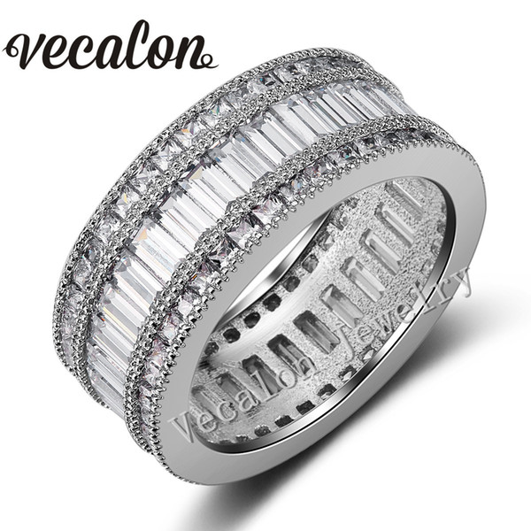 Vecalon Full Princess cut 20ct Simulated diamond Cz Female Wedding Band ring 10KT White Gold Filled Engagement Ring for Women Sz 5-11