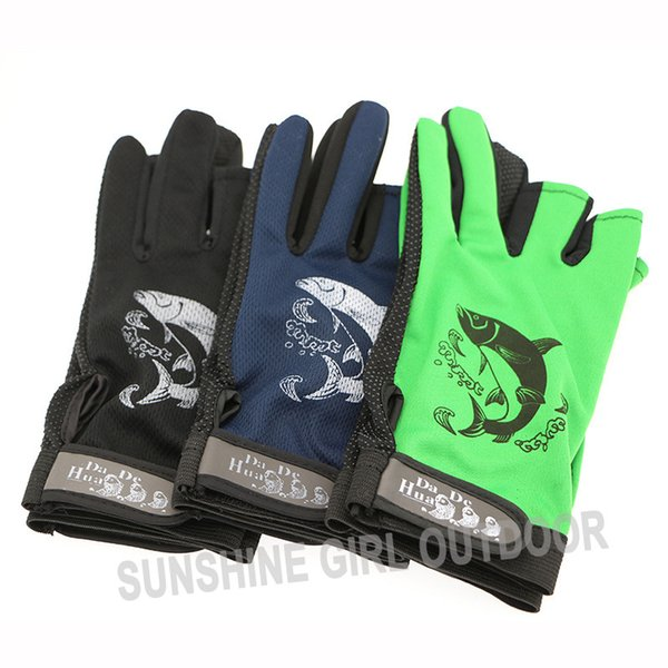 Luva Pesca 3 Pairs Lot Outdoor Gloves for Fishing Cut Finger Gloves Without Fingers Non-slip Fishing Gloves 6 Colors Luvas