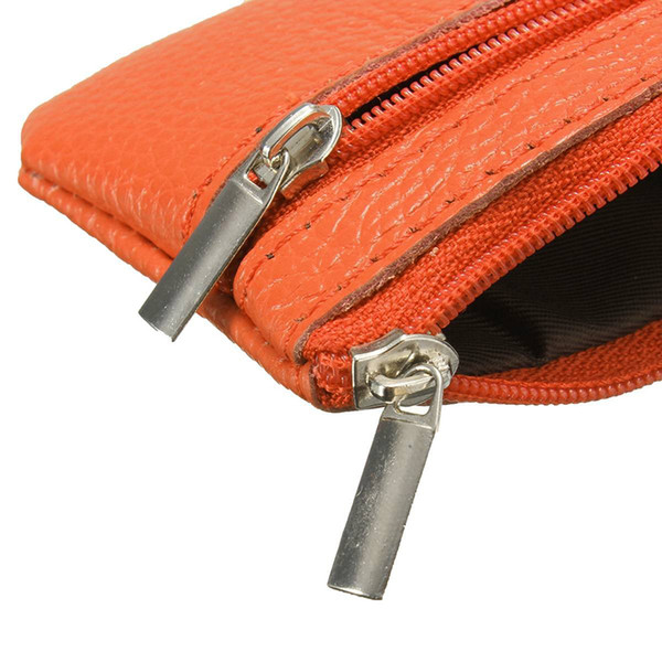 wholesale- vsen women leather mini zip coin key purse money wallet pouch gift purse orange (405379464) photo