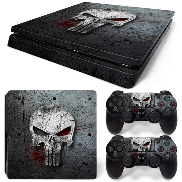 Cool Skull Front & Back PS4 Slim Vinyl Skin Sticker Console Skin + 2 PCS Controller Cover Decal Skins For PS4 Slim