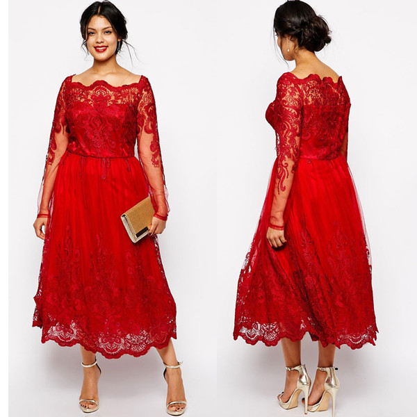 Stunning Red Plus Size Evening Dresses Sleeves Square Neckline Lace Appliqued A-Line Prom Gowns Tulle Tea-Length Formal Dress