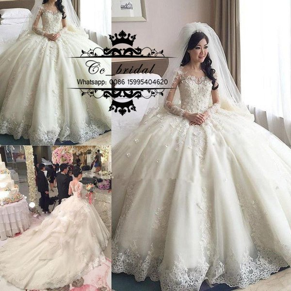 Luxury prince ball gown lace wedding dre e with cathedral train 2016 long leeve bri al gown ee through back ve tido de novia