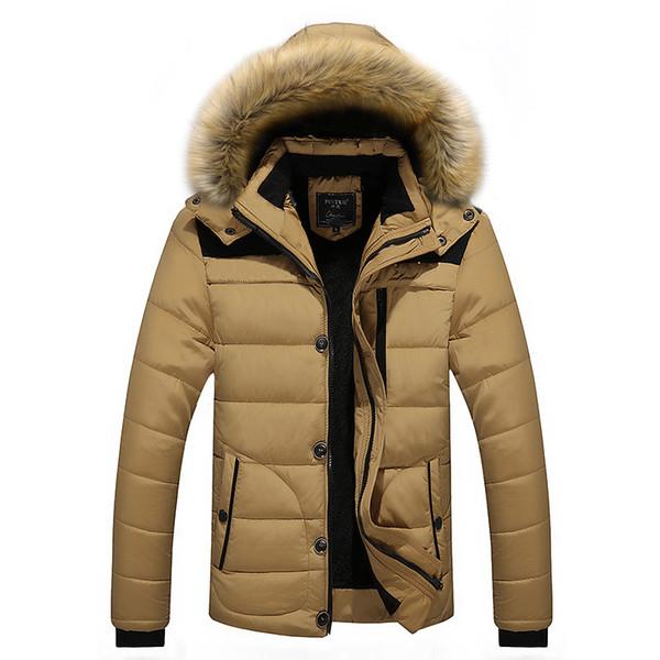 2017 мужчины зимние куртки пальто черный теплый пуховик открытый капюшоном мех мужские толстые искусственного меха внутренний парки плюс размер известный бренд L-4XL
