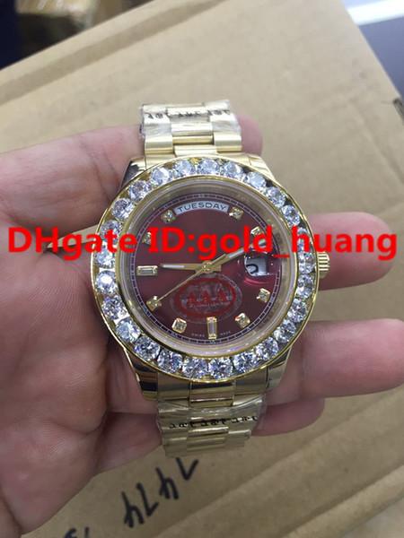 2016new luxury 43mm gold big diamond mechanical man watch blue black green claret gule dial automatic tainle teel men 039 watche