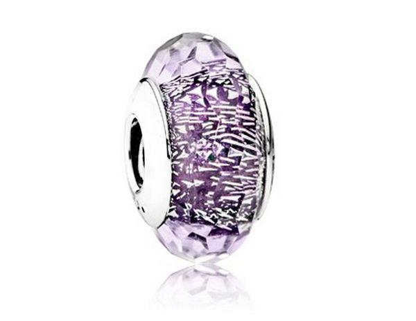 Подходит Пандора браслеты темно-фиолетовый мерцание серебряные бусины Мурано 2016