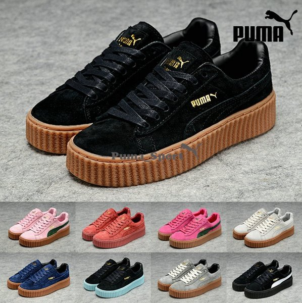 2016 Рианна х Puma Suede Creeper Черный Белый Розовый Овсяная Женщины Мужчины кроссовки, Мода Pumas Rihanna обувь кроссовки 36-44