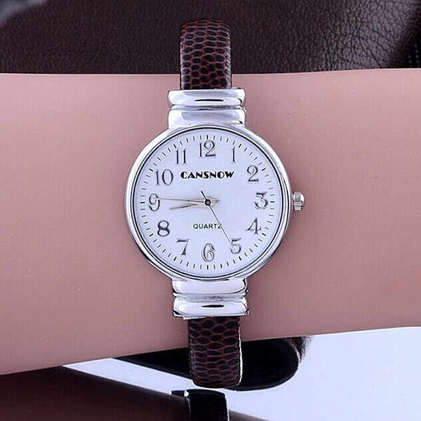 Wholesale-New luxury top brand CanSnow Fashion and dress Bracelet watches Leopard leather Strap Bangle Women Casual quartz watch