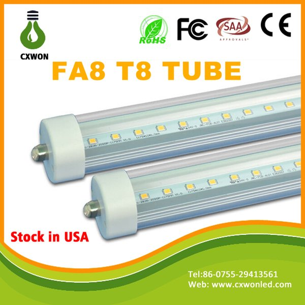 T8 FA8 Single Pin LED Tube Lights 8FT 40W 3500Lm Bulbs SMD 2835 2400MM 8feet LED Fluorescent Tube Lighting Lamps 85-265V