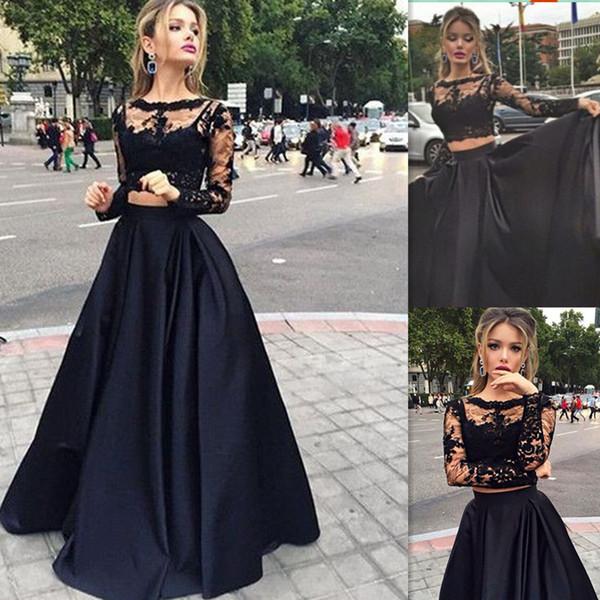Платья для выпускного с длинными рукавами Черный кружевной топ из двух частей и атласное платье с круглым вырезом для особых случаев