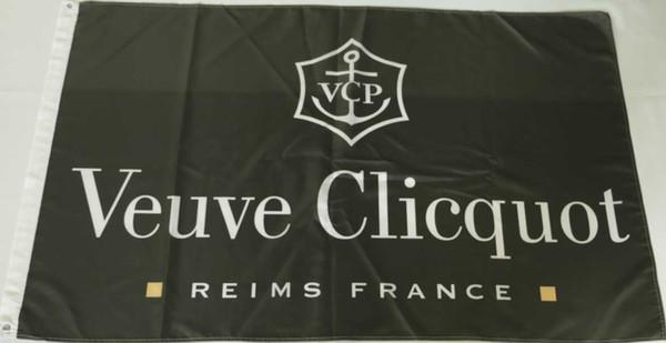 Пользовательские флаг баннер для Вдова Клико шампанское 3x5 футов полиэстер высок фото