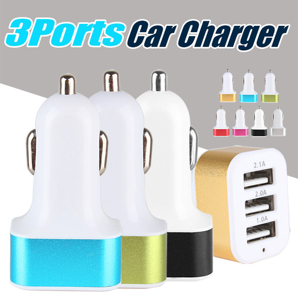 3 port  u b car charger for iphone x 8 7 travel adapter car plug triple car u b charger for ipad tablet without package