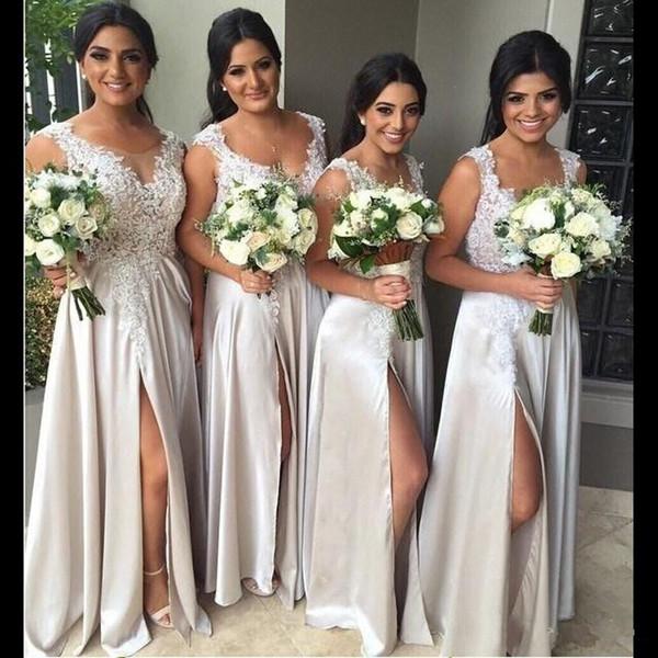 Champagne lace beach bride maid dre e ide plit lace wedding party dre e long evening dre maid applique long bride maid gown