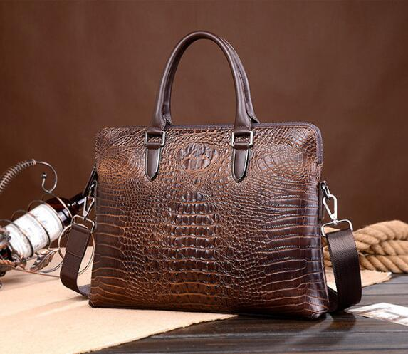 Factory direct male package new fashion brand leather crocodile crocodile leather briefcase mens finest selection of men's business.