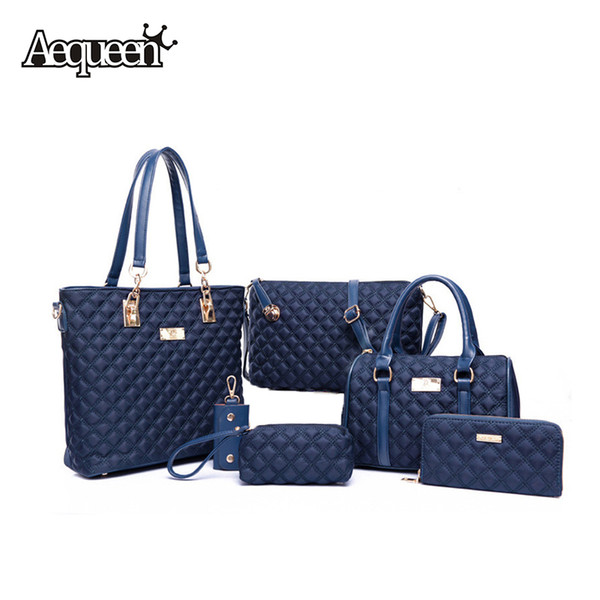 wholesale-2016 women 6pcs/bags sets designer brand purses wallet+clutch handbags+crossbody bag+key holder mujer bolsos elegant totes (389357404) photo