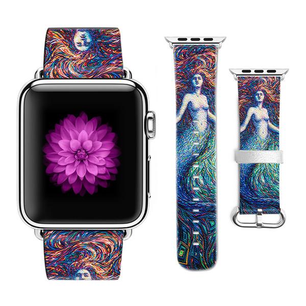 Оригинальный дизайн Русалка Pattern кожаный Спортивный ремешок для Apple Watch браслет 38 мм 42 мм для Iwatch ремешок подарок для IPhone Чехол