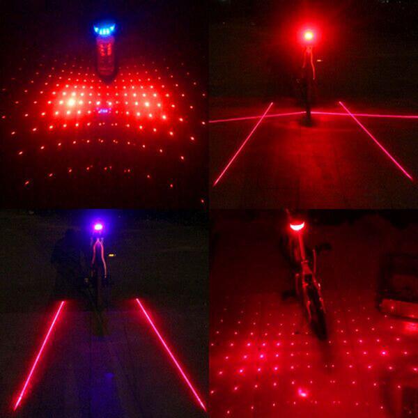 2 лазер + 5 LED Велоспорт велосипед задний фонарь безопасности сигнальная лампа мигает сигнализация подседельный фонарь предупреждение предупреждение Луч мерцание
