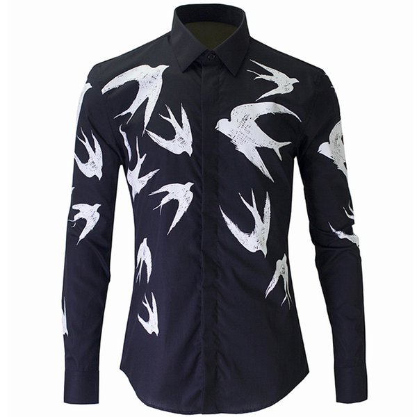 Wholesale- New Black Shirt Men Chemise Homme 2016 Fashion Swallow Printed Slim Fit Long Sleeve Mens Dress Shirts Casual Cotton Shirt фото