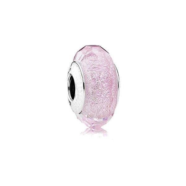 Подходит Pandora браслет розовый мерцание серебра Murano бусины 100% стерлингового сереб