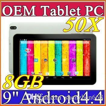 50x dhl 9 quot  quad core tablet pc android 4 4 kitkat atm7029b quadcore 512mb ram 8gb rom tablet  dual camera c 9pb