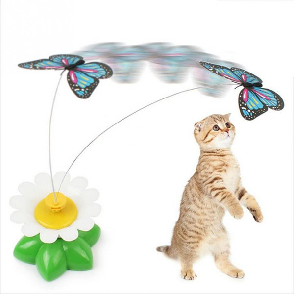 New fa hion pc random color popular electric rotating butterfly cat toy  kitten funny pet  upplie  direct factory price quality