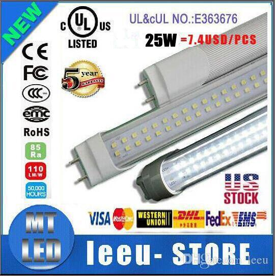 US stock LED T8 dual row Tube 4FT 25w 28w 36W 2800LM SMD 2835 G13 FA8 R17D 192LEDS light 1.2m Double row 85-265V led fluorescent lighting