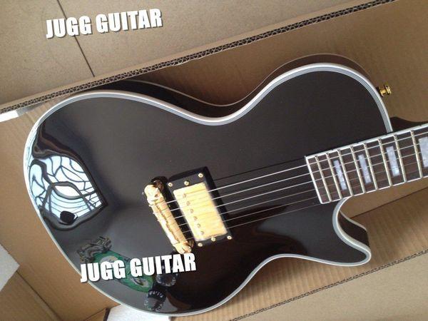 Cu tom limited run ingle pickup black electric guitar mahonay body ebony fingerboard gold hardware block pearl inlay