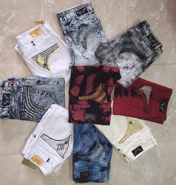 Free Shipping Mens Robin Rock Revival Jeans Crystal Studs Denim Pants Designer Trousers Men's size 30-42 New