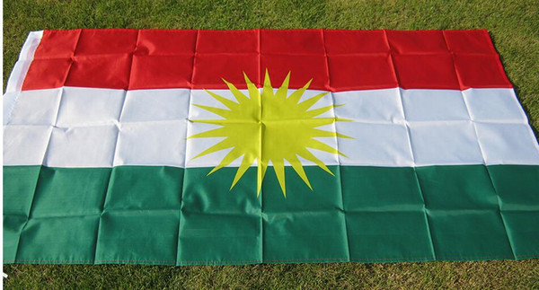 Курдский флаг 90 * 150см Флаг Курдистана Полиэстер Висит FBannes 2 стороны Печатный флаг фото