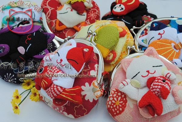Pur e wallet kimono fabric cartoon coin pur e key bag handbag 8 c japane e lucky cat wind cartoon wallet key holder bag frog mouth
