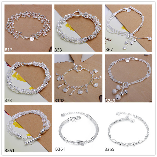 Fashion women's 925 silver Bracelet 8 pieces a lot mixed style, heart ball feather sterling silver Charm Bracelets DFMB3