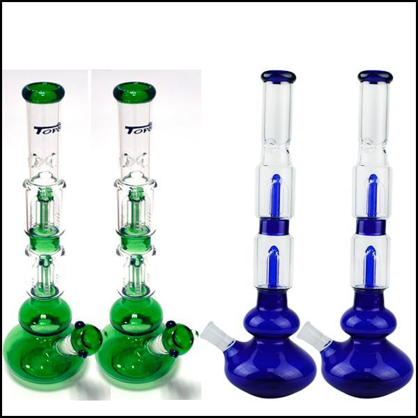 Жидкое стекло труба со стилем шин и сотами стекла диффузор перколяторе Производство зеленый / синий Bongs Для курящих 19cm курительная трубка