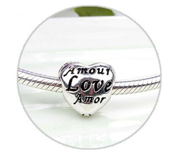 HYWo 925 Sterling Silver Abstract Love Heart Shape Buckle Charms Pulseira Fit European Charm pandora Diy Bracelets Pendant wholesale
